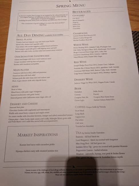 Qantas Lounge LAX lunch menu
