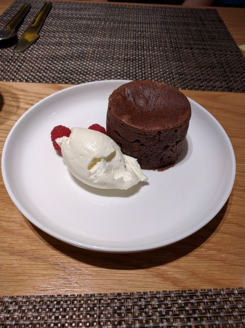Qantas First Class Lounge LAX chocolate fondant