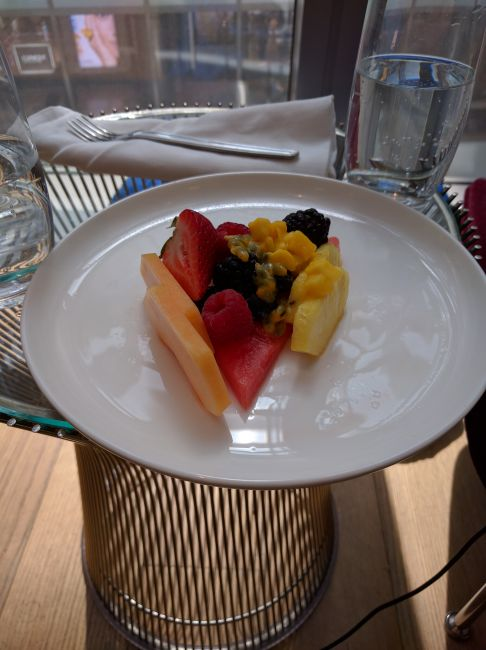 Qantas First Class Lounge LAX fruit plate